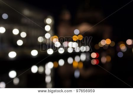 city at night, blurred lights, boquet light effect