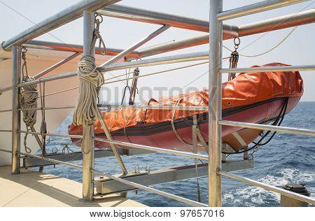 Orange Lifeboat on the ship