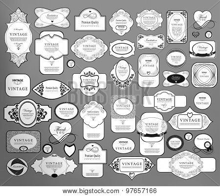 Set of retro vintage labels  and  ribbons