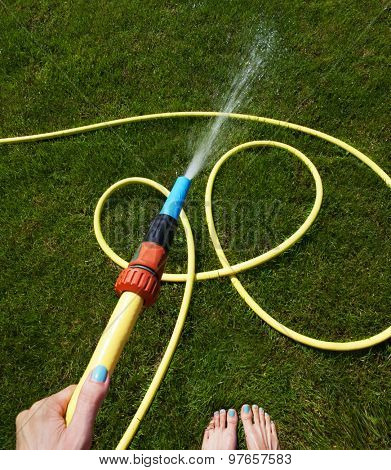 Woman's hand with garden hose watering grass, gardening concept