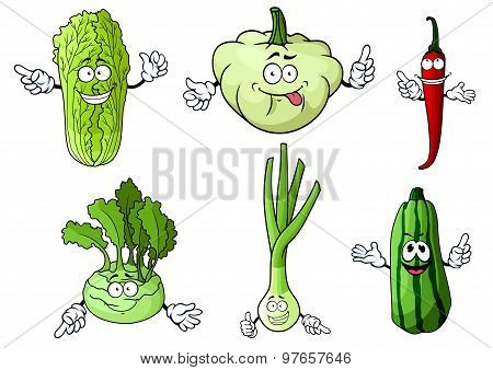 Cartoon fresh isolated farm vegetables