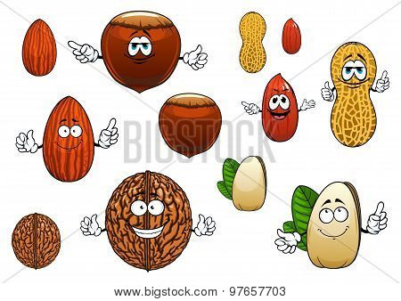 Cartoon isolated funny nuts characters