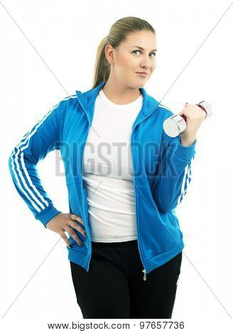 woman with a dumbbell, isolated against white background