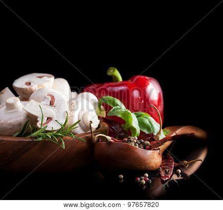 Vegetables and spices isolated  in black background