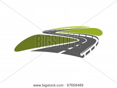 Road with hairpin bends and guardrails