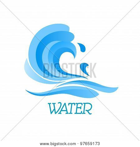 Blue ea wave abstract symbol