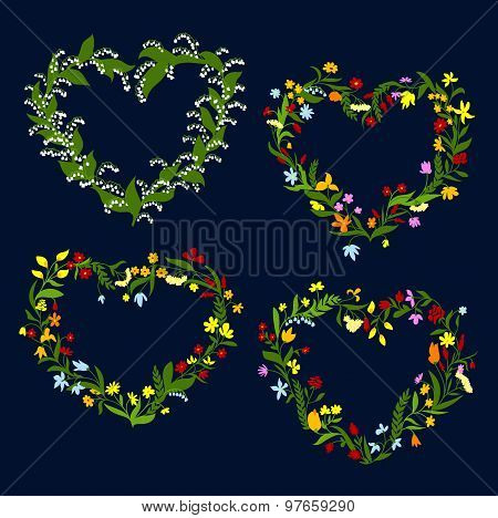 Heart shaped spring or summer wreaths
