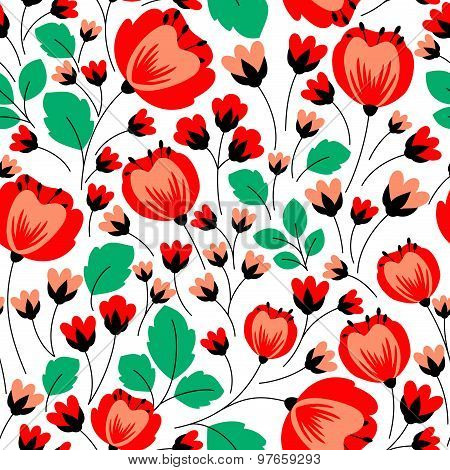 Retro seamless pattern with red poppies