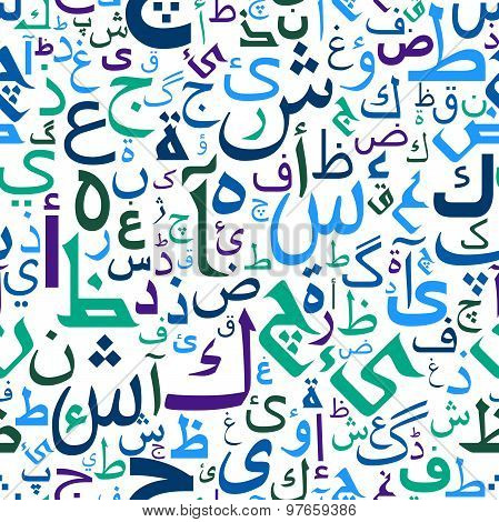 Abstract seamless arabic letters pattern