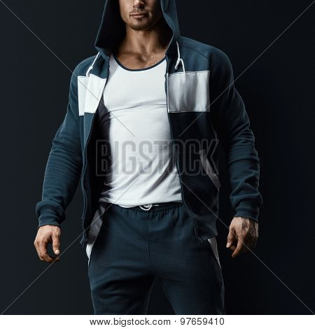 Fitness Male Model In Sweatshirt