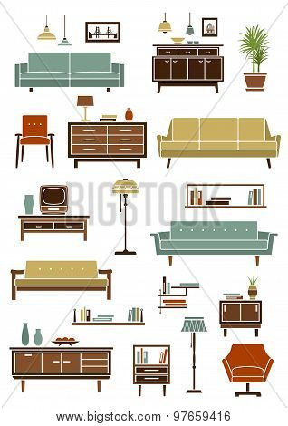 Retro furniture with interior accessories