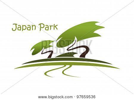 Bonsai garden symbol with pines