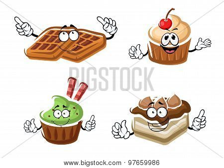 Cartoon cupcakes, cake and belgian waffle