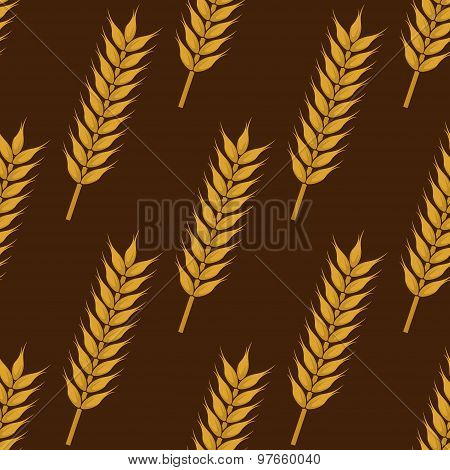 Ears of ripe wheat seamless pattern