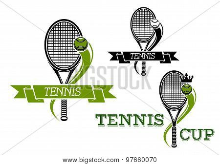 Tennis emblems with rackets and ribbons