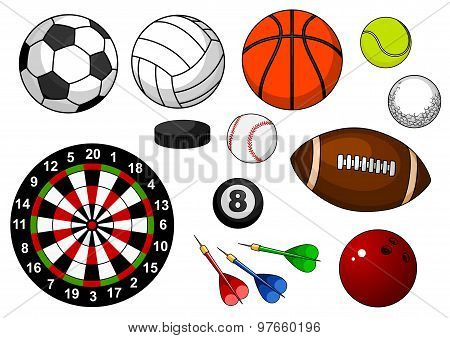 Sport items with balls, puck and darts