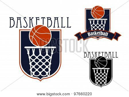 Basketball game icons with baskets and balls