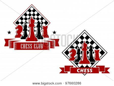 Chess emblems with chessboard and pieces