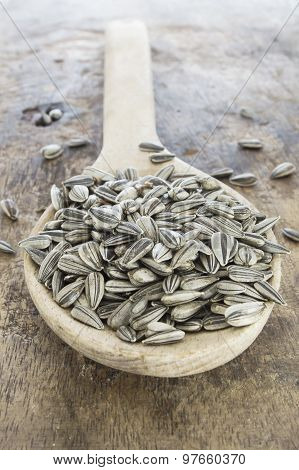 Sunflower Seeds In A Wooden Spoon