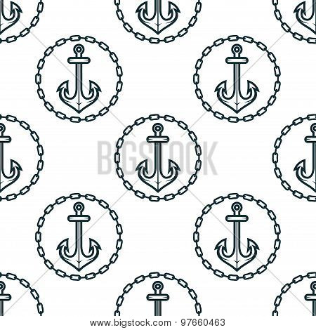 Ship anchors with chain border spattern
