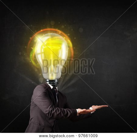 Business man with idea light bulb head concept