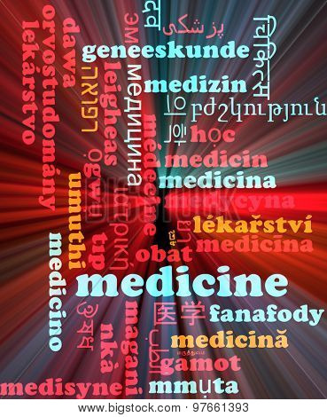 Background concept wordcloud multilanguage international many language illustration of medicine glowing light