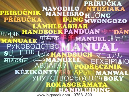 Background concept wordcloud multilanguage international many language illustration of manual glowing light