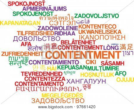 Background concept wordcloud multilanguage international many language illustration of contentment