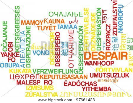 Background concept wordcloud multilanguage international many language illustration of despair