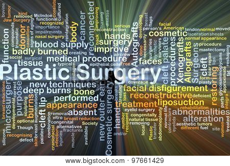 Background concept wordcloud illustration of plastic surgery glowing light