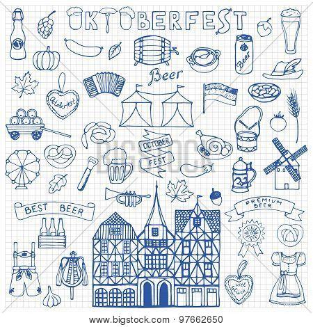 Octoberfest  hand drawn doodles