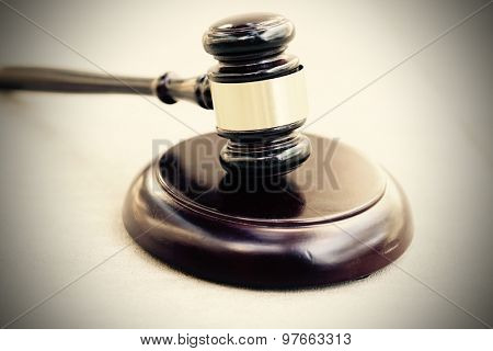 Wood gavel and block