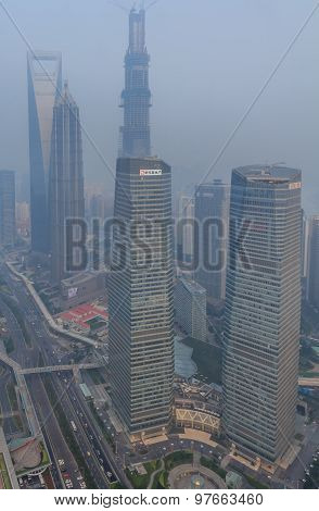 Smog In City Center Of Shanghai
