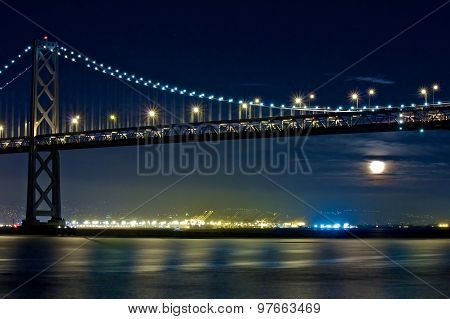 Moon Rising Under San Francisco Bay Bridge