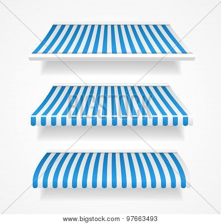 Vector colorful awnings for shop set blue