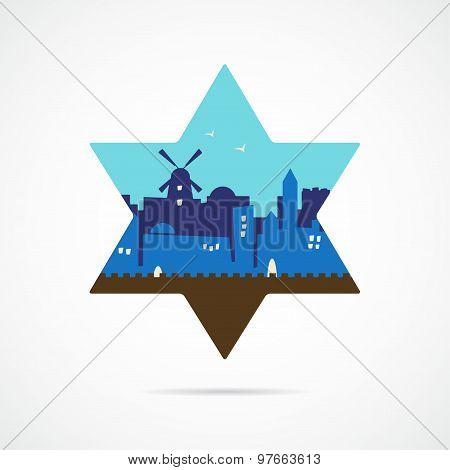 Jerusalem Israel skyline silhouette flat design inside david star