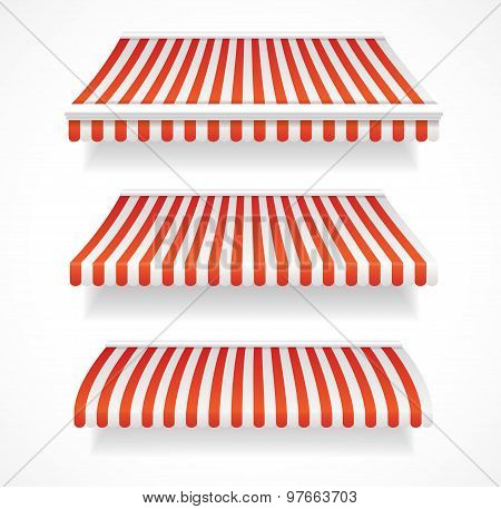 Vector colorful awnings for shop set red