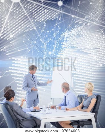 Business people listening during meeting against glowing world map on black background