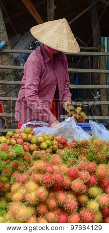 Vietnamese Woman Selling Many Tropical Fruits