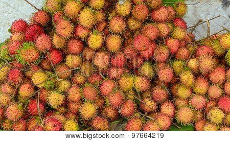 Rambutan Fruits At A Market In Mekong Delta