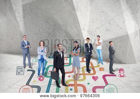 Business team against grey angular background