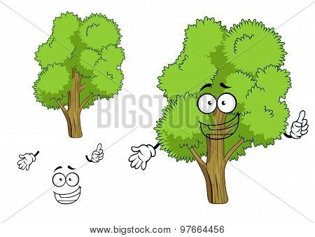 Cartoon deciduous green tree character
