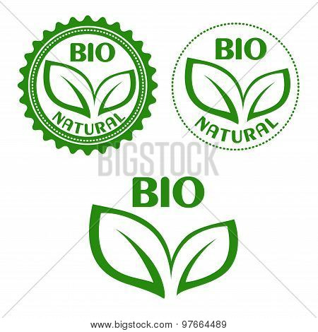 Natural bio food abels in retro style