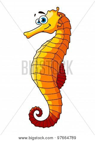 Yellow underwater seahorse cartoon character