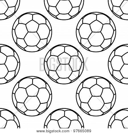 Football or soccer balls outlines seamless pattern