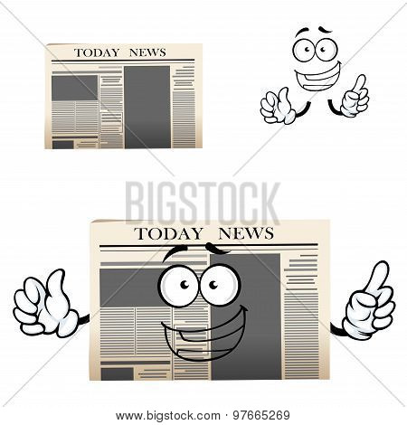 Daily newspaper isolated cartoon character