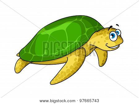 Swimming cartoon green turtle animal