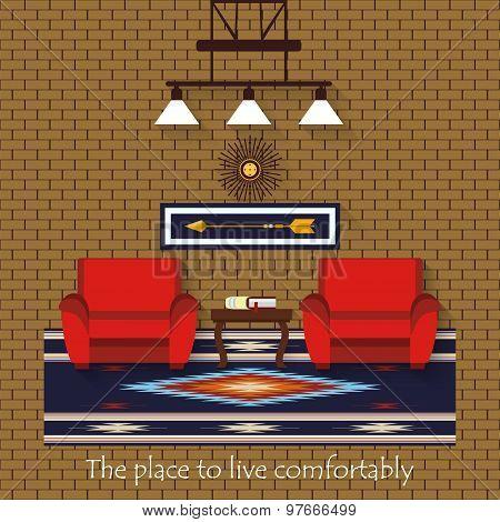 Interior Of A Living Room. Flat Design Illustration.