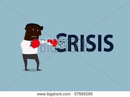 Black businessman boxing with crisis