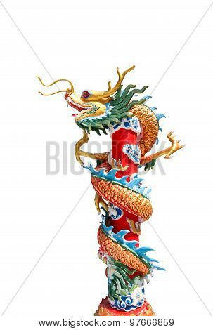 Chinese Dragon Wrapped Around Red Pole